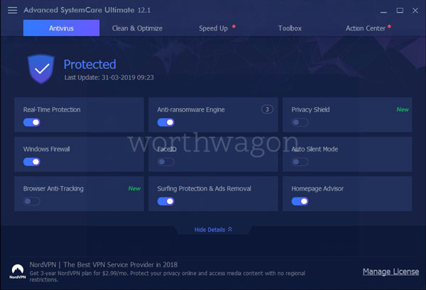 Advanced SystemCare Ultimate 12 Antivirus Tab