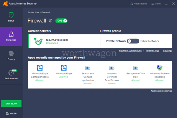 Avast Internet Security Protection Tab
