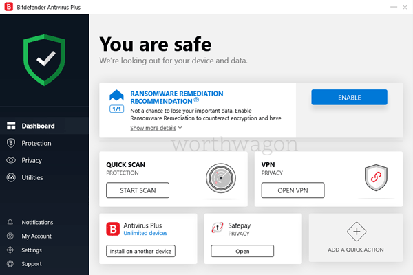 Bitdefender Antivirus Plus Home Screen