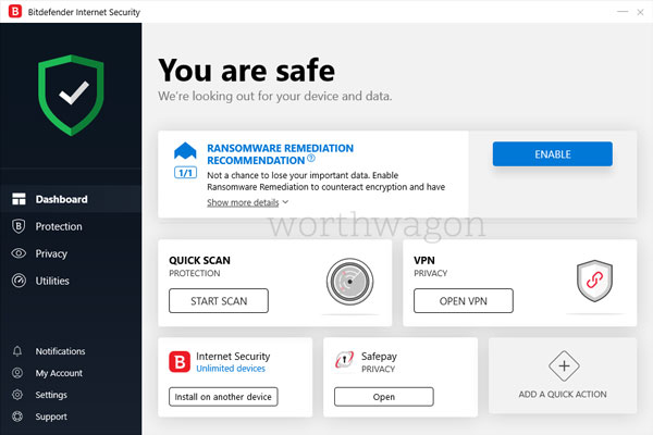 Bitdefender Internet Security Home Screen