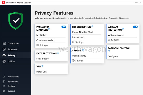 Bitdefender Internet Security Privacy Tab