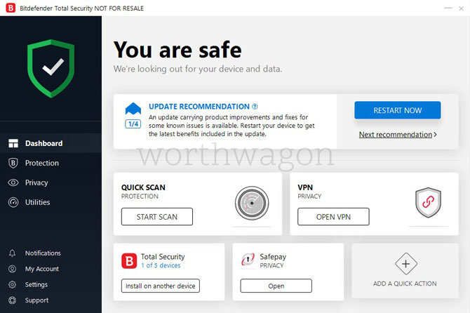 Bitdefender Total Security 2019 Review Home Screen