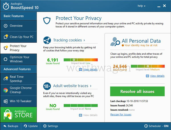 BoostSpeed 10 Protect Privacy Tab
