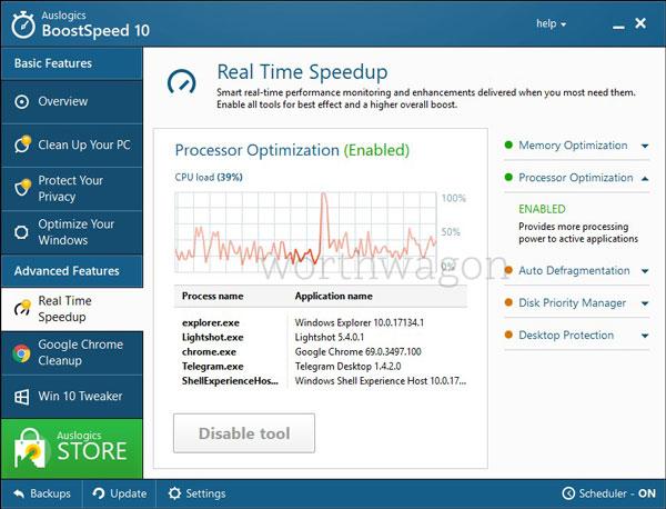 BoostSpeed 10 Real-Time Speedup Tab