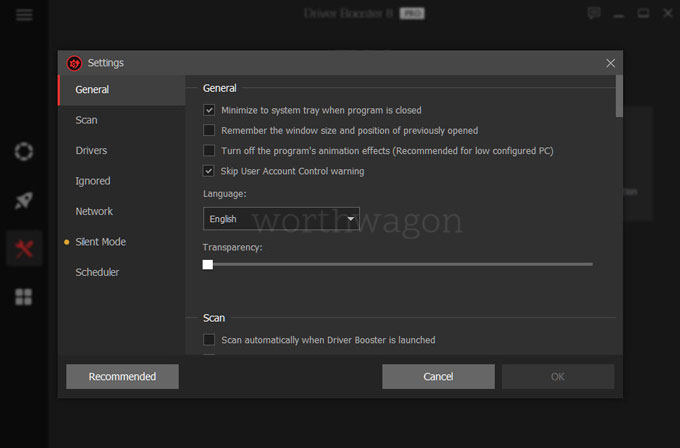 Driver Booster 8 Pro settings