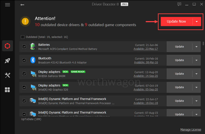 Driver Booster update in a single click