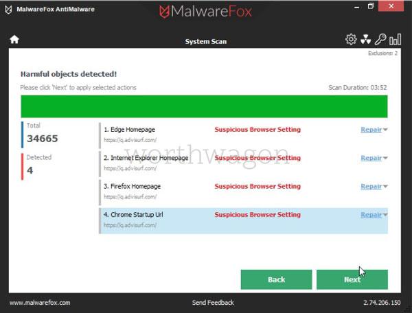 MalwareFox Premium Scan Result