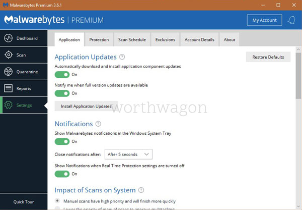 Malwarebytes Premium Application Settings