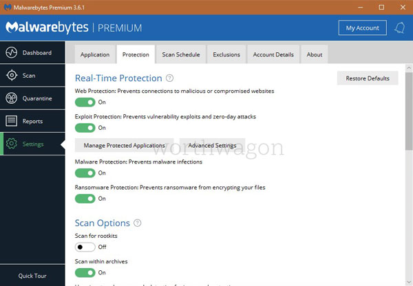 Malwarebytes Premium Protection Settings