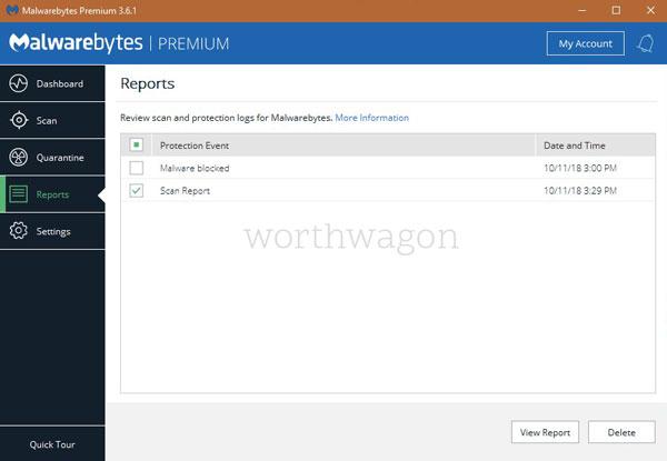 Malwarebytes Premium Reports Tab