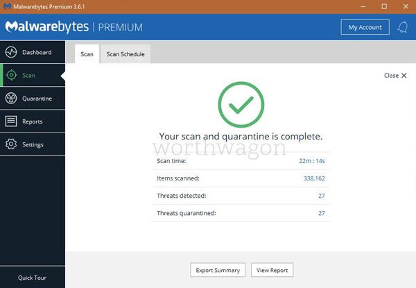 Malwarebytes Premium Scan Tabq
