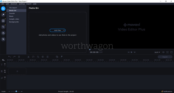 Movavi Video Editor Plus 2020 Dashboard