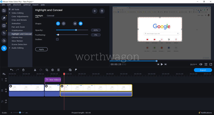 Movavi Video Editor Plus 2020 Highlight and Conceal