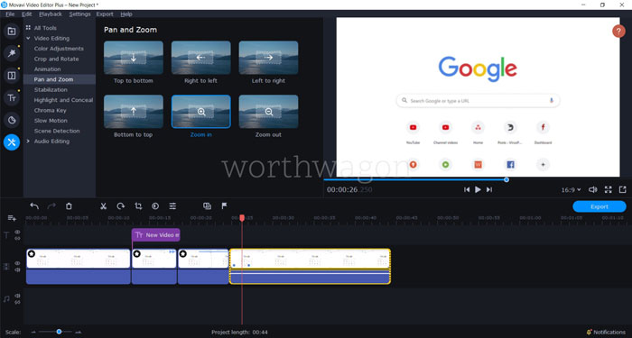 Movavi Video Editor Plus 2020 Pan and Zoom