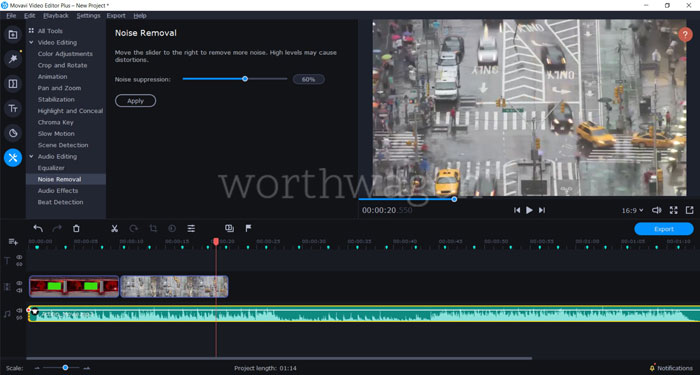 Movavi Video Editor Plus 2020 Review - Noise Removal