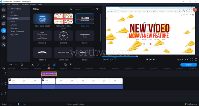 Movavi Video Editor Plus 2020 Titles