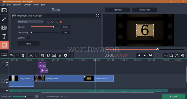 Movavi Video Editor Plus Highlight and Conceal