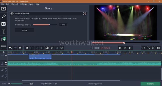 Movavi Video Editor Plus Noise Removal