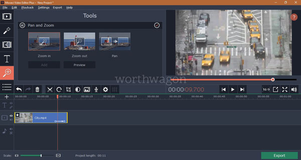 Movavi Video Editor Plus Pan and Zoom