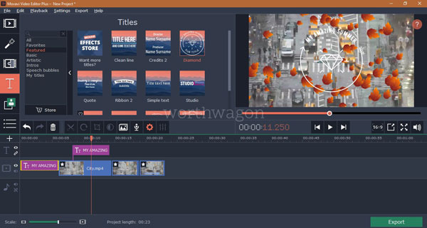 Movavi Video Editor Plus Titles