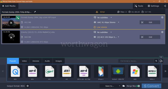 Movavi Video Suite Video Converter Merging