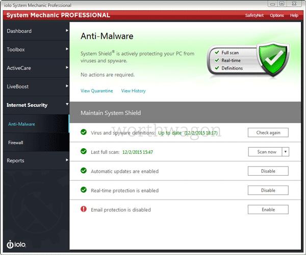 iolo System Mechanic Pro Anti-Malware Tab