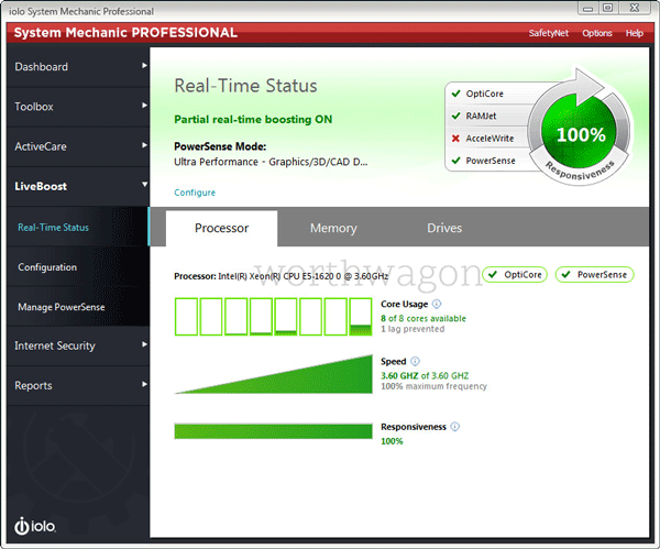 iolo System Mechanic Pro Real-Time Status Tab