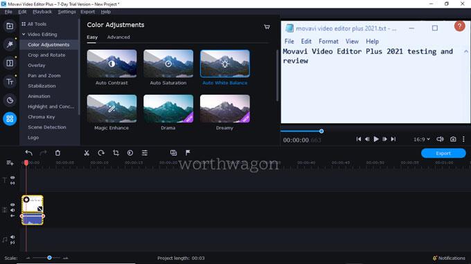 movavi video editor plus 2021 Color Adjustments