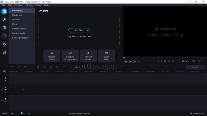 movavi video editor plus 2021 interface