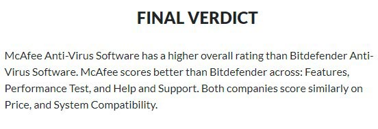 Bitdefender Vs McAfee Comparison - User Opinion 2
