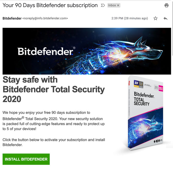 Bitdefender Free 90 Days Trial