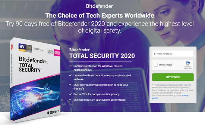 Bitdefender Free Trial Subscription Form