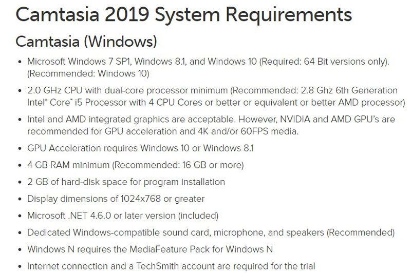 Camtasia System Requirements