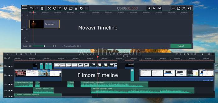 Movavi Vs Filmora Timeline Comparison