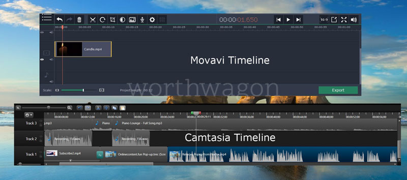 Movavi vs Camtasia - Timeline Comparison
