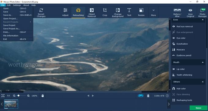 Movavi-photo-editor files menu