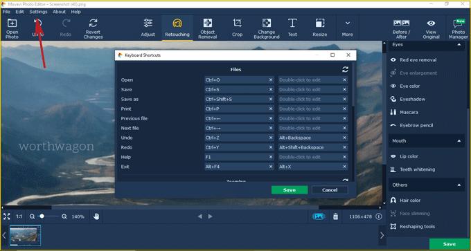 Movavi-photo-editor keyboard shortcuts