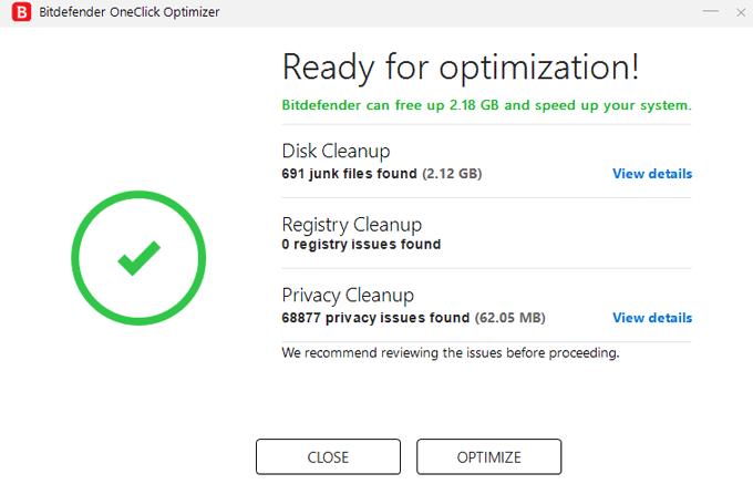 Bitdefender Total Security 2020 review oneclick optimizer