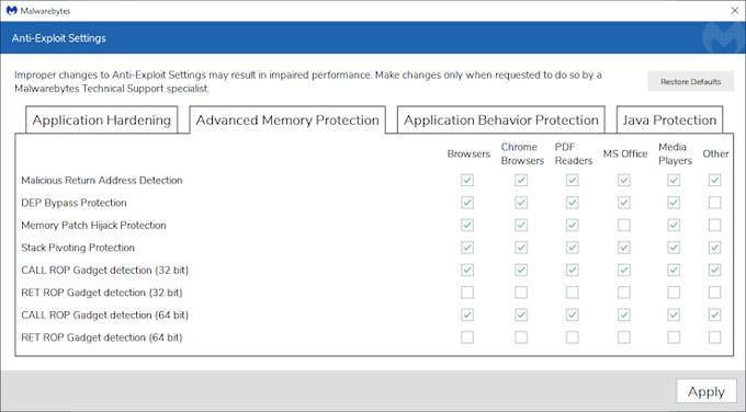 Malwarebytes advanced memory protection