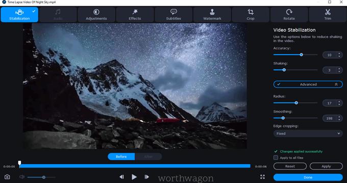 Stabilization in Movavi Video Converter