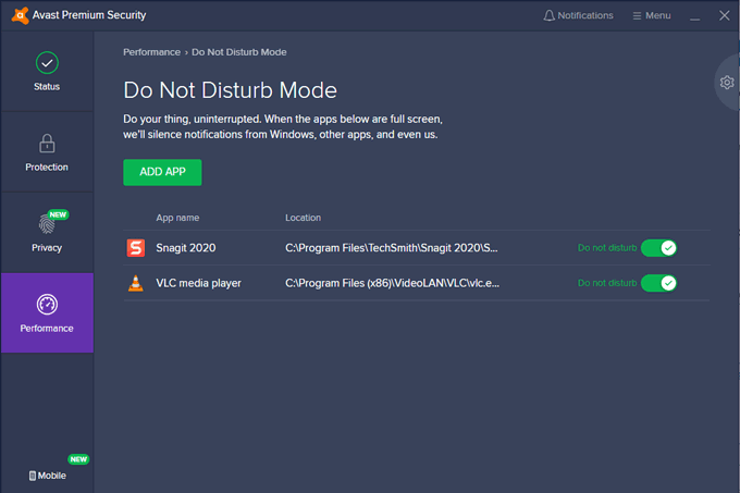 Avast Security Do Not Disturb mode