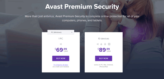 Avast Premium Security Pricing