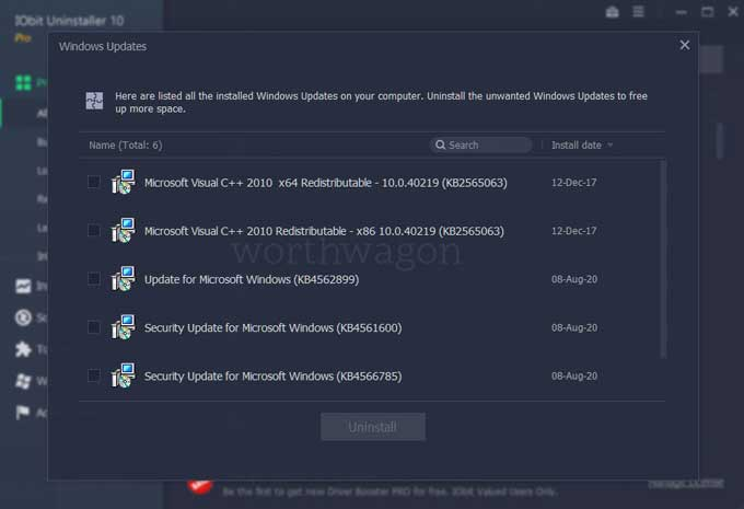 iobit uninstaller pro 10 windows updates
