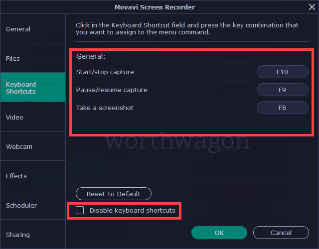 Keyboard shortcuts Movavi Screen Recorder