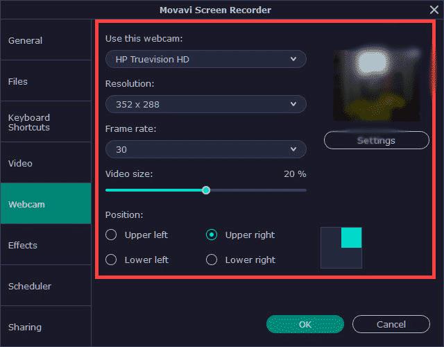 Movavi Screen recorder Webcam settings