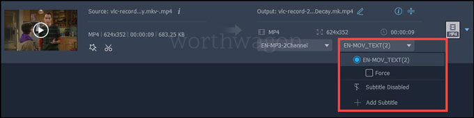 FonePaw Video Converter subtitle track