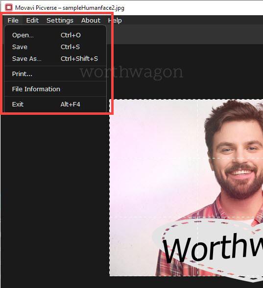 Movavi Picverse file menu