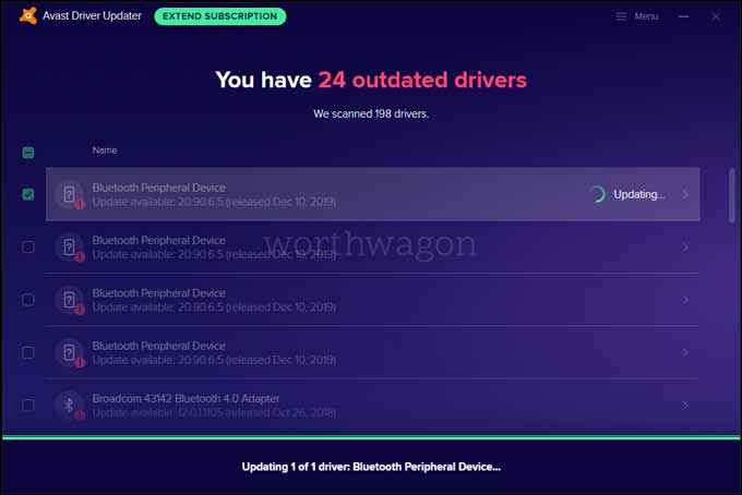 Updating with Avast Driver Updater