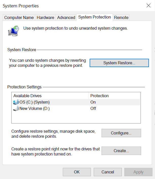 system restore settings in Windows OS