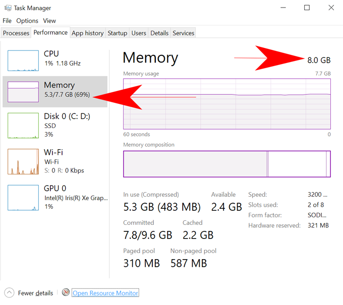 Available RAM in task manager